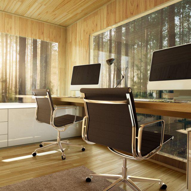 tuinkantoor met computers en bureaustoelen