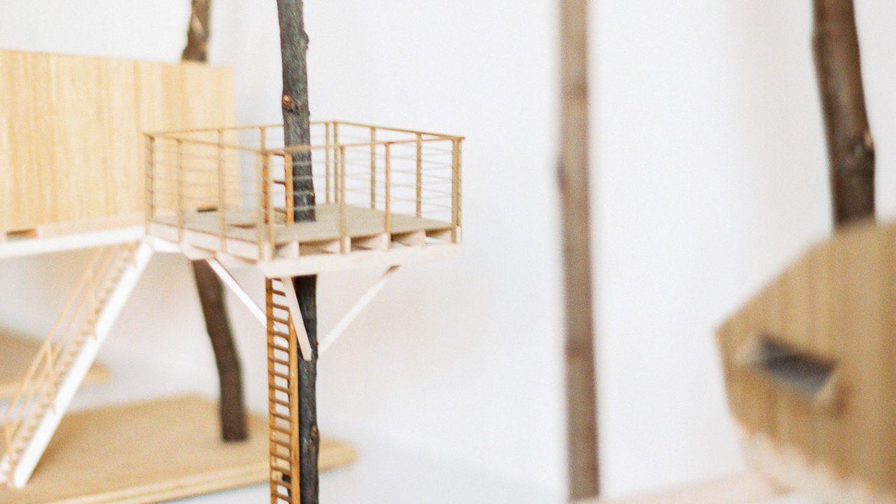 Maquettes van hogerhuis boomhutten, minature treehouses