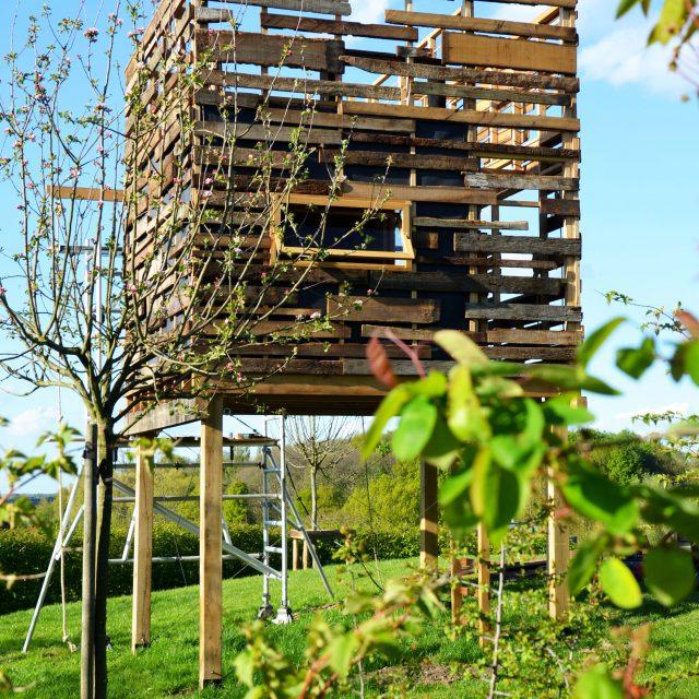 speciale boomhut op palen in een tuin