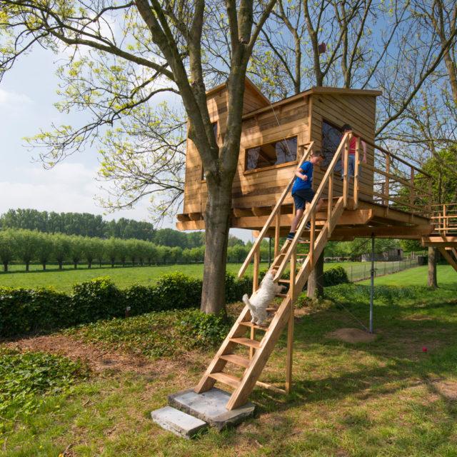 boomhut in een tuin met spelende kinderen op de trap