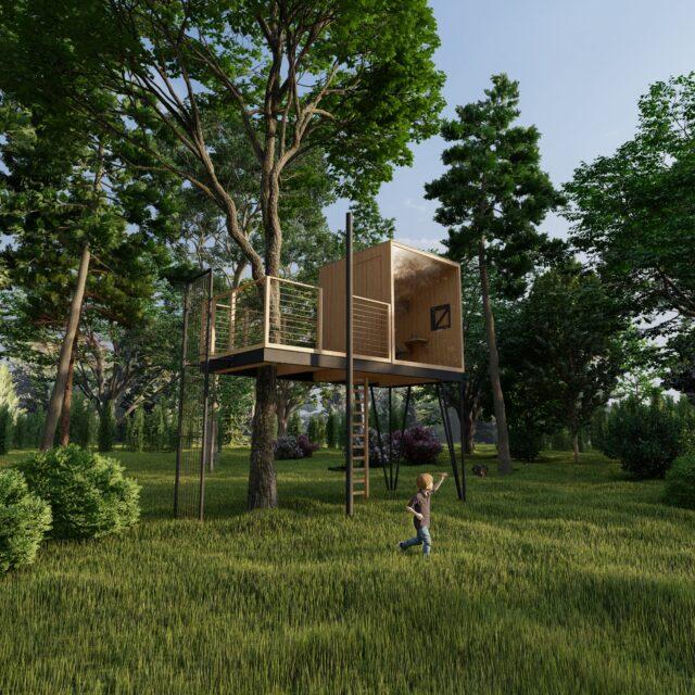 render boomhut in een bos met een spelend kind