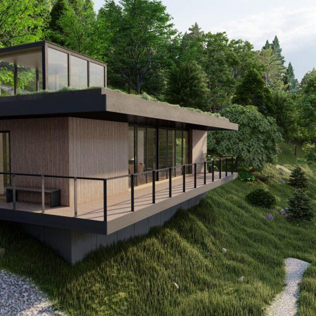 Tiny house of houten huis op een helling in een bos met pad