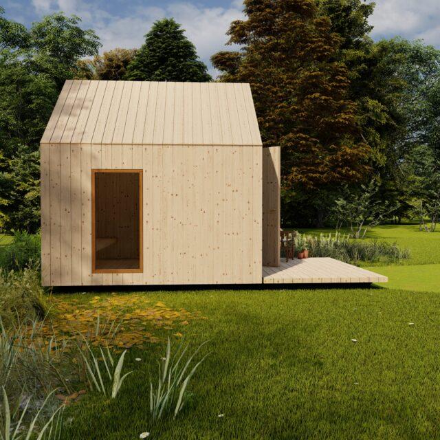 sauna, hout, outdoor